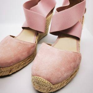 Edward Meller Espadrille Wedge Shoes EU39 Pink